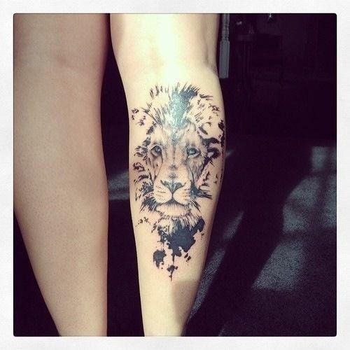 Lion Tattoo for Girls on Leg