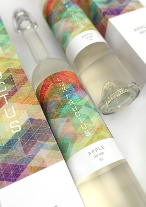 CUBEN / Lux Fructus  This beautiful design concept by Marcel Buerkle for a fruit wine packaging is inspired by Simon C. Page's CUBEN pattern project. The pattern design is visualized on wine labels and boxes.  More images of the design project on WE AND THE COLORFacebook//Twitter//Google+//Pinterest