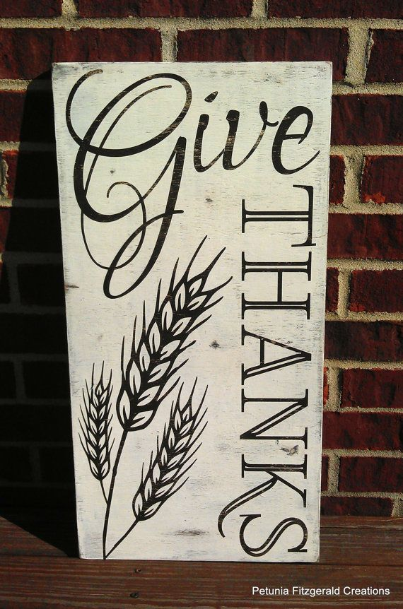 Ready to Ship -- 12x24 Give Thanks Word Art Painted Sign - Perfect for…