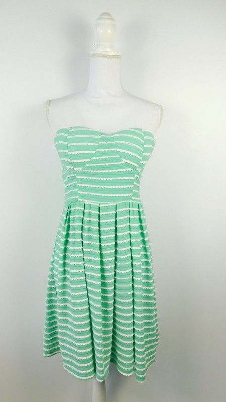 4ce331af1502 New Look Striped Mint Green White Scalloped sleeveless Summer A Line Fit  and Flare Dress Sz large - Used but in great condition Fully lined Padded  at bust.