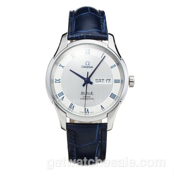 Omega De Ville, White Dial, Blue Leather Strap, Japanese Quartz Movement, The case of the watch is made of top quality solid 316 stainless steel,Water-Resistant, Case Material Stainless Steel / White Gold, Free Shipping on all Orders Worldwide.  Our Price: $108.00. Visit  www.getwatchesale.com/cheap-omega-watches-on-sale-cb50/2.html?category=50=DESC=goods_id=50_attr=0& to buy omega mens watches in cheap price