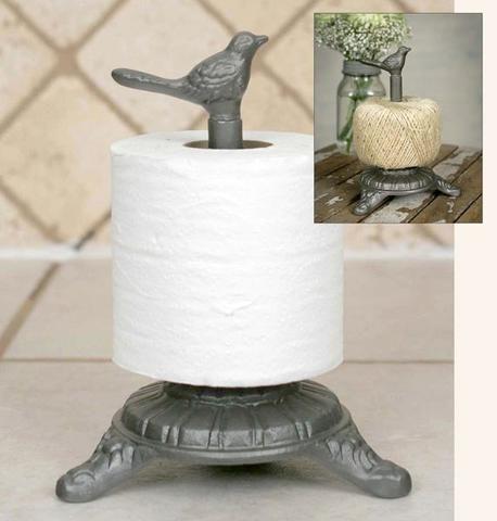 Rustic French Garden Cast Iron Song Bird Twine, Toilet Tissue Holder