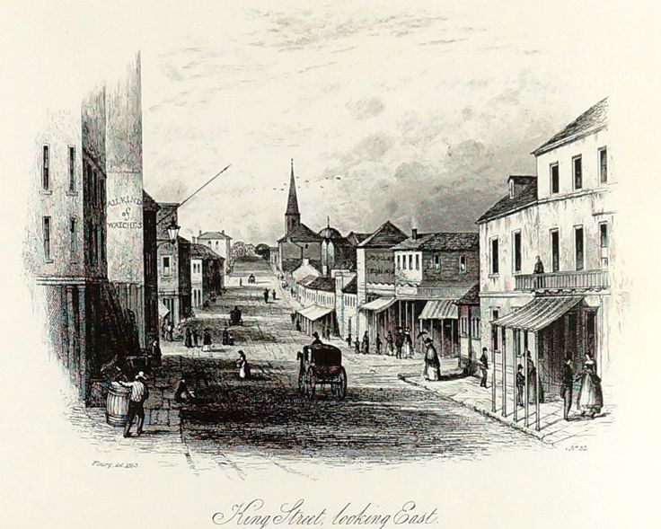 FREDERICK CHARLES TERRY (1825-1869)  Vintage Lithograph Title: King Street Looking East Size: 26cm x 33cm Frame Size: 50cm x 58cm Signature Details: Titled Lower Centre, This Lithograph is a Later Facsimilie of the Original that was Published in 1855 Artwork is Housed in a Glazed Timber Frame