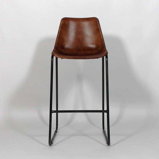 Chaise de bar Industrielle cuir et metal Dublin  |  S16BAR