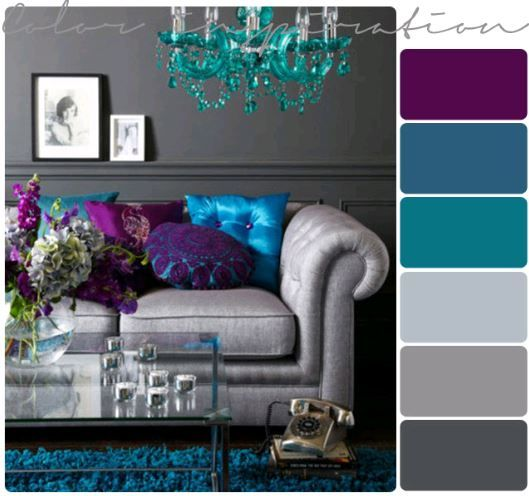 Purple, grey and turquoise living room