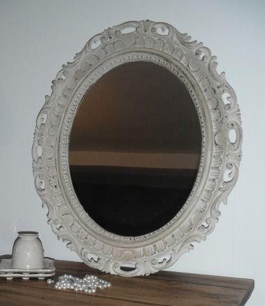 Ancien miroir relooké Patine couleur argile Finition cire antiquaire  Dimensions: Larg 56.5 cm  Hauteur 65.5 cm  Pour une déco très cosy et très campagne chic! Modèle  - 17266023