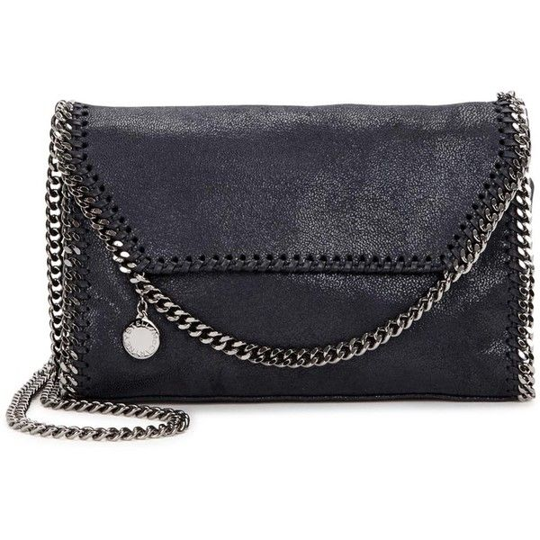 Stella McCartney Falabella mini navy faux suede shoulder bag (4.305 DKK) ❤ liked on Polyvore featuring bags, handbags, shoulder bags, navy blue purse, chain purse, mini shoulder bag, chain strap purse and stella mccartney handbags