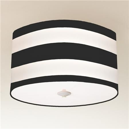Deck Stripe Drum Shade Ceiling Mount Light, available in black, navy, or yellow, $169