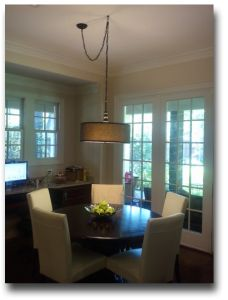 Drum Shade Chandeliers. Breakfast room