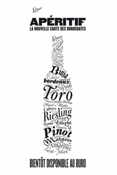 fun typography wine ad