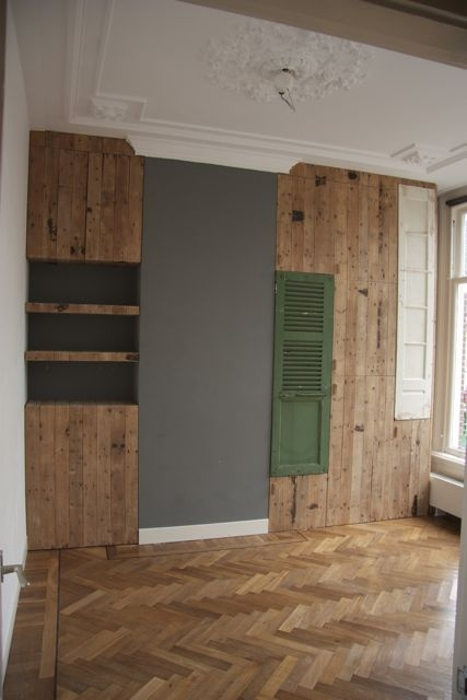 custommade closet from old doors and wood