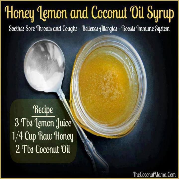 Honey lemon and coconut oil syrup to relieve sore throats and coughs. Via coconutmama.com