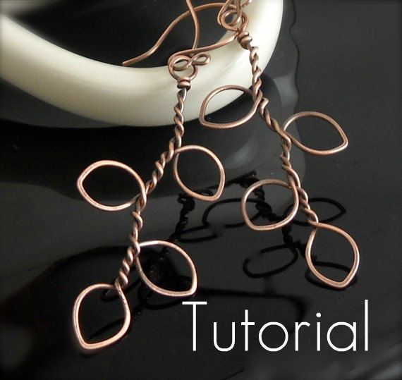 """TUTORIAL Tree of Life Earrings Good basic idea.  I can see wrapping green wire around the """"leaves"""" or adding blossoms here and there... For inspiration; link is gone."""