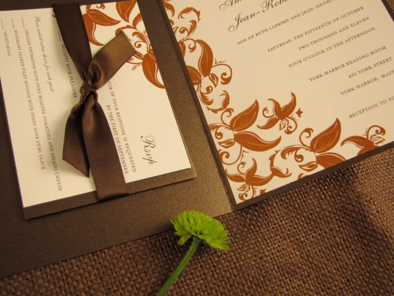 Cascading Leaves   Orange Brown And Ivory Thermography Wedding Invitations  (Qty:100) By