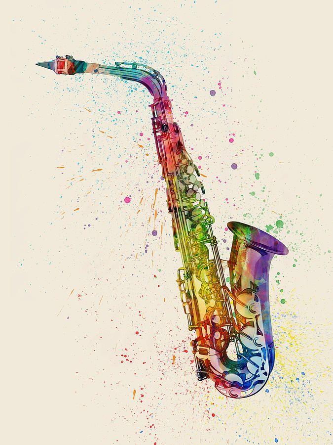 Saxophone Abstract Watercolor Digital Art by Michael Tompsett
