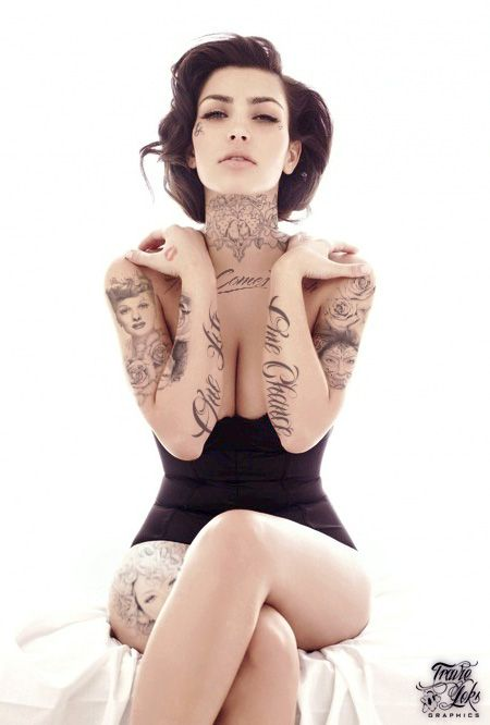 #ink #floral #sleeves #tattoo #inked #chick #badass #sexy #butterfly #pinup #retro #brunette #tattooed #neckpiece