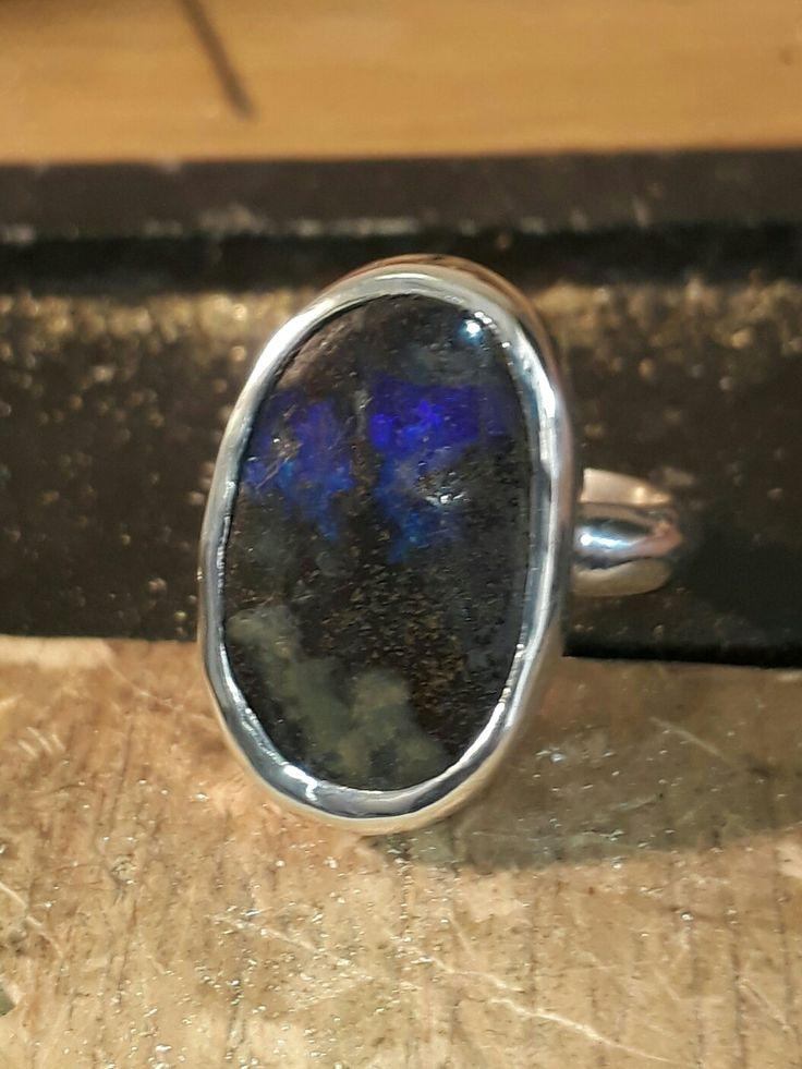 Handmade Australian boulder opal set in sterling silver.