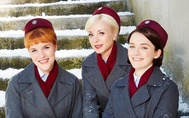 Nurse Patsy Mount (Emerald Fennell), Nurse Trixie Franklin (Helen George), Nurse Barbara Gilbert (Charlotte Ritchie) in Call the Midwife