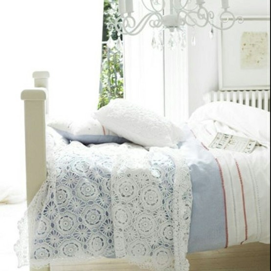 White lace on blue - Not this lace pattern, but I like the ...