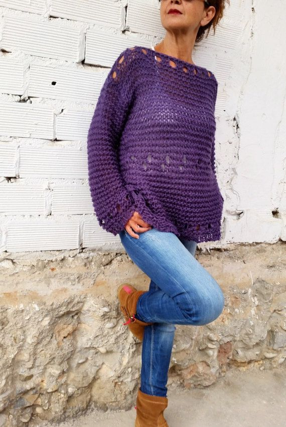 Loose knit sweater, womens pullover, light knit pullover, women's sweater, hand knit sweater, woman knitwear,