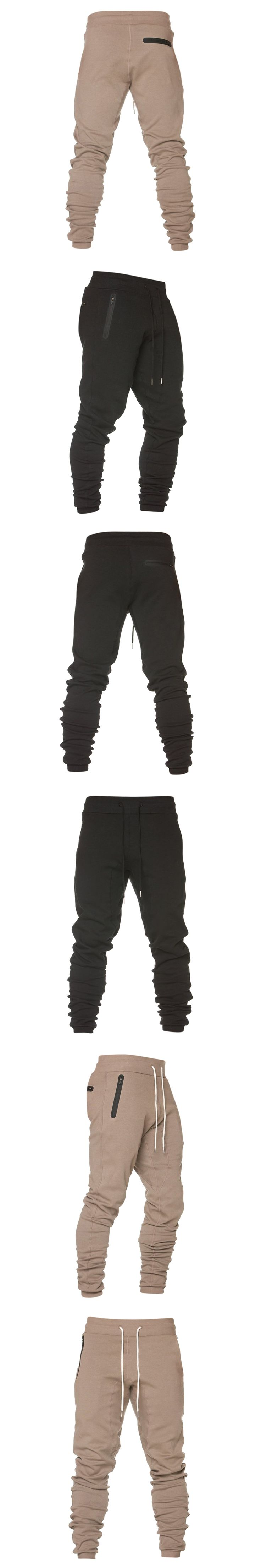 Autumn Spring Sweatpant Men Casual Harem Trousers Elastic Waist Long Tracksuit Bottoms Sportswear Zipper Pockets Solid Color 3XL