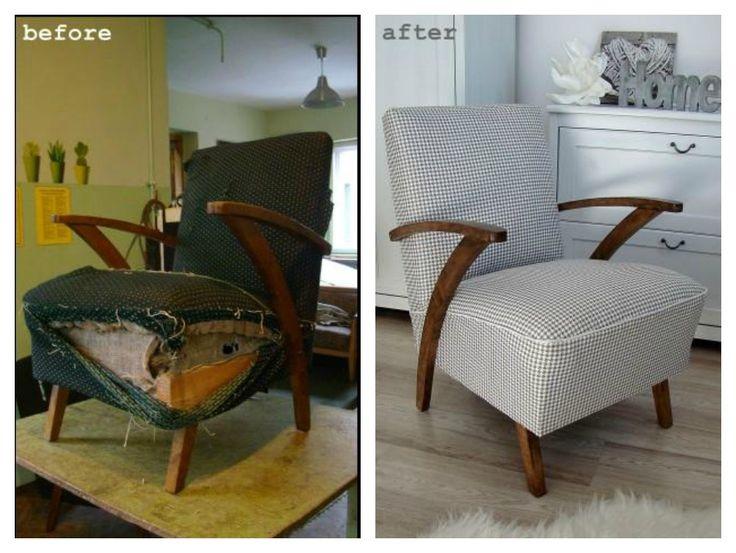 Oryginalny fotel z lat 60. po renowacji. Moda na PEPITKĘ & Coco Chanel nie przemija ...