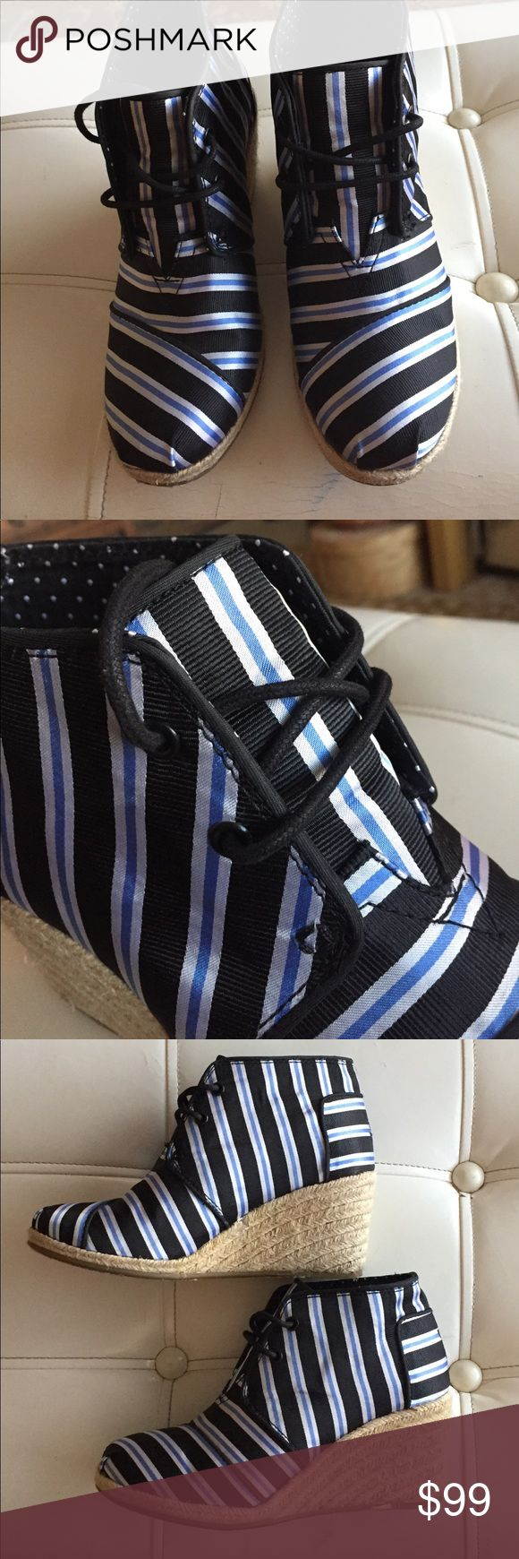 """Toms x Tabitha Simmons wedge bootie Toms x Tabitha Simmons wedge bootie in crisp navy stripe gros grain fabric with jute sole detail. 2 1/2"""" heel TOMS Shoes Espadrilles"""