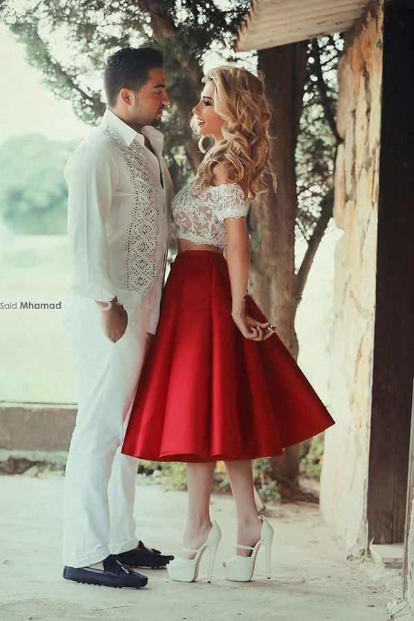 Two-piece Off-the-shoulder Short Sleeves Red Tea-Length Homecoming Dress