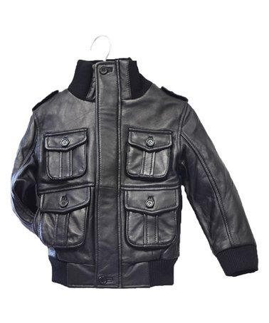 Loving this Black Leather Military Bomber Jacket - Infant, Toddler & Kids on #zulily! #zulilyfinds