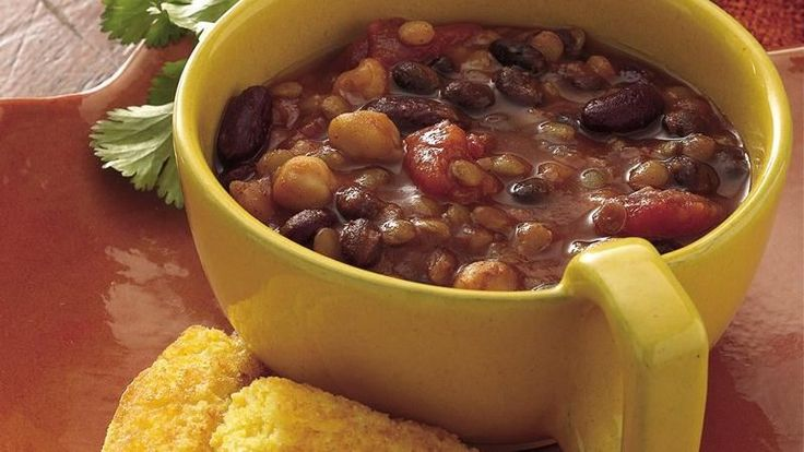 You won't miss the meat in a spicy chili brimming with three kinds of beans. Use recipe for chili seasons that is posted on this board too... don't use store bought, it's better to make your own.