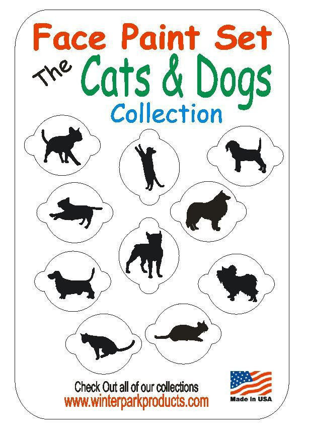 10 Piece Cats and Dogs Face Painting Stencil Set