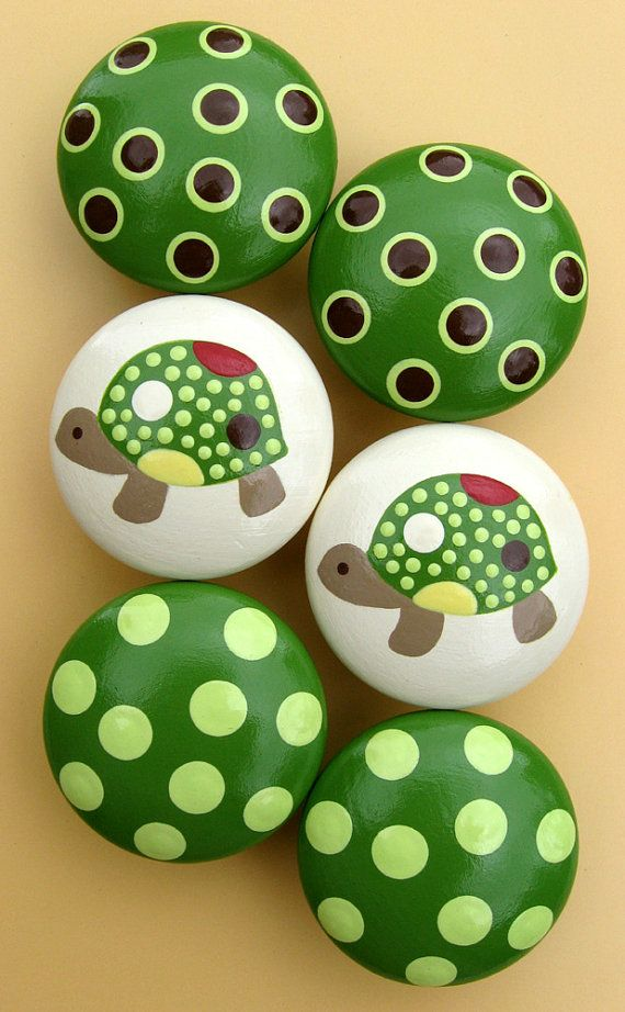 Turtle+and+Spotted+Hand+Painted+Knobs+Green+by+sweetmixcreations,+$40.00