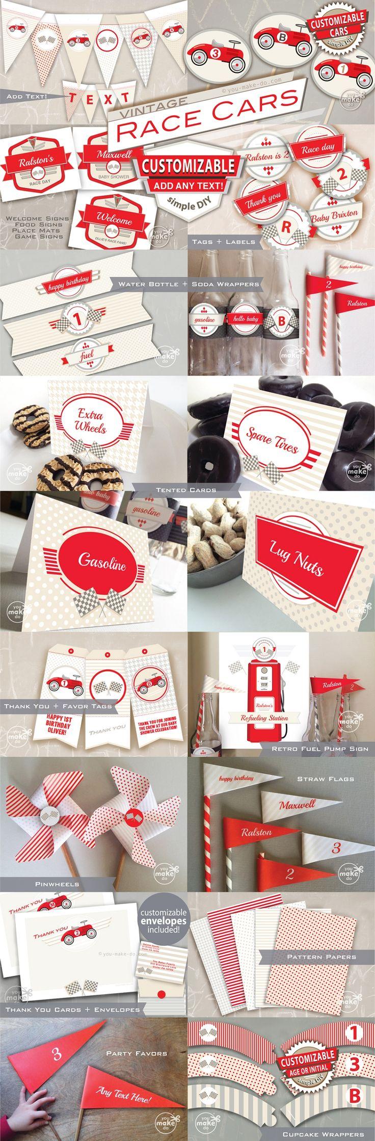 Vintage race car party printables make perfect decorations for a boy baby shower…