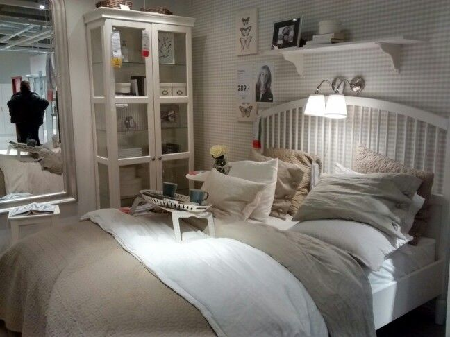 Comfy bed room & natural toned colours at Ikea