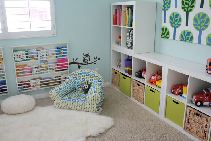 Furniture. Storage Boxes Toys Dazzling Design Ideas Of White Wooden Color Storage Shelves For Toys And Combine With Green Brown Wicker Cube Bins Also Blue Wall Paint Cream Fur Carpet Frieze Small Chair Glass Window Kids Toy And Book Storage. Great Design Ideas Of Shelves For Toys