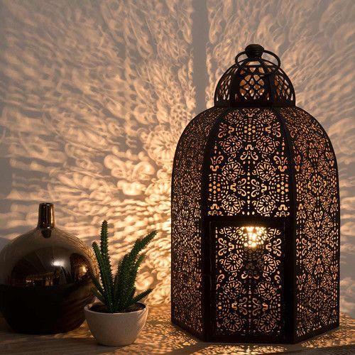 Geslepen metalen SANTAL lamp met roesteffect H 50 cm