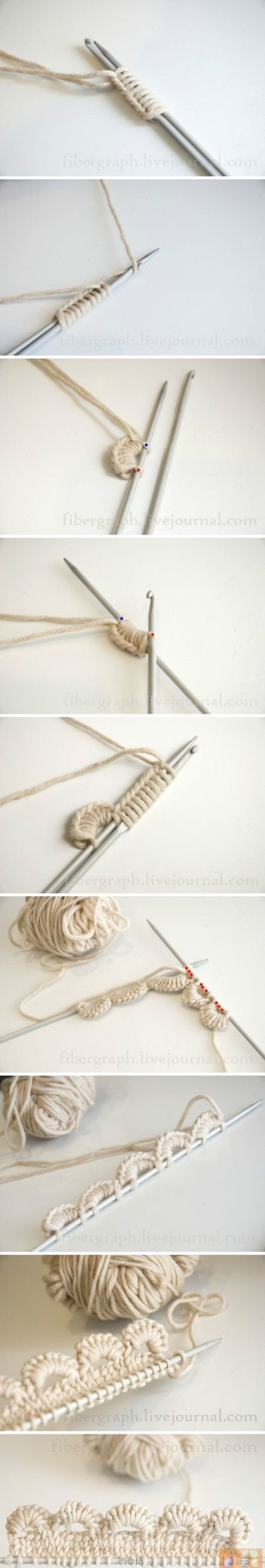 """Super Idee mit Stricknadeln und Häkelnadel arbeiten. [   """"Knitting + Crochet = Such an interesting way to get a crocheted scallop edge onto a knitting project. I can see a summer top made in organic cotton yarn using this technique!"""",   """"花边 Crochet scallop edge cast on knitting needles."""",   """"Tutorial Picot cast on, It"""