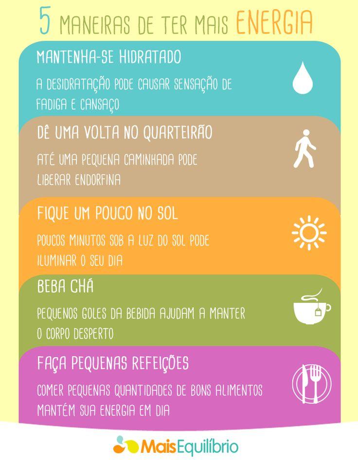 Sem disposição para fazer suas atividades diárias? Faça pequenas mudanças no seu dia e tenha mais energia! Mais dicas em: http://maisequilibrio.com.br