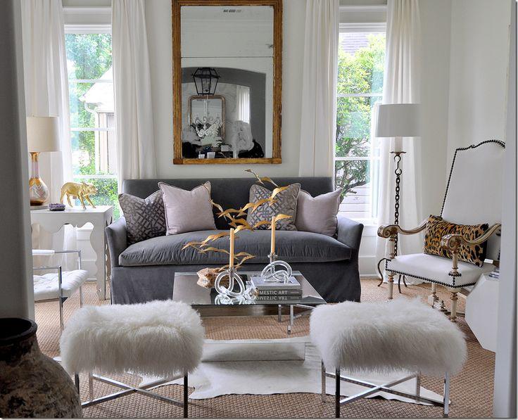 Houston Design Blog   Material Girls   Houston Interior Design » Identity Crisis: Interior Design, Decor, Grey Sofa, Ideas, Living Rooms, Livingrooms, Sally Wheat, Gold, House