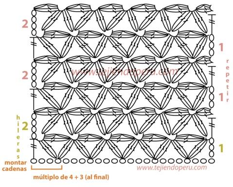 punto jazmin (stella) , video http://www.tejiendoperu.com/crochet/galer%C3%ADa-de-puntos-fantas%C3%ADa-1/
