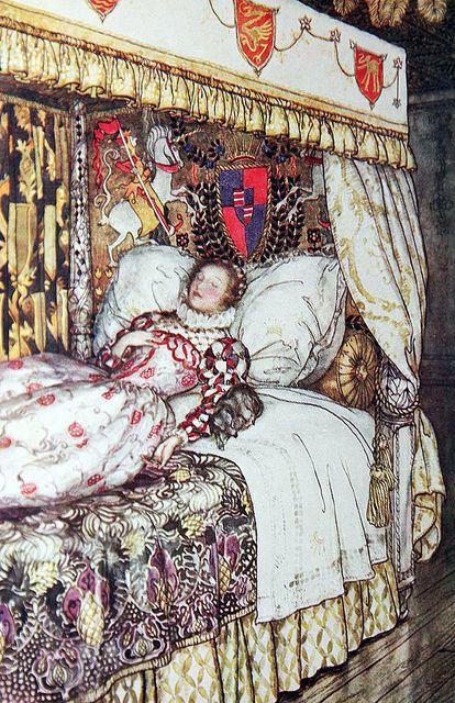 """The Sleeping Princess"" illustration by Arthur Rackham for 'The Allies Fairy Book', Heinemann, 1916."