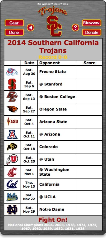 BACK OF WIDGET - Free 2014 USC Trojans Football Schedule Widget for Mac OS X - Fight On! -   National Champions 2004, 2003, 1978, 1974, 1972, 1967, 1962, 1939, 1932, 1931, 1928 http://riowww.com/teamPages/USC_Trojans.htm