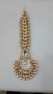 White-Gold-Kundan-Pearl-Stone-Indian-Bridal-Bollywood-Forehead-Heavy-Mang-Tikka