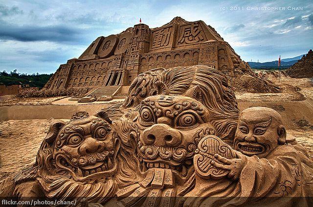 Awesome Sand Sculpture at Fulong Beach, Taiwan (centennial celebration)