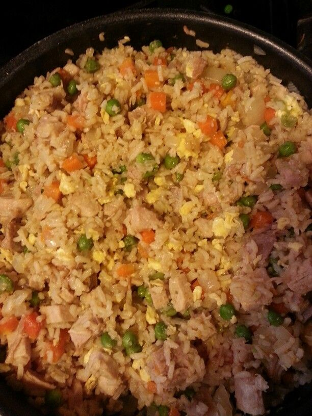 Home made Pork Fried Rice.   Leftover pork loin 1 onion 1/2 bag of frozen peas and carrots 2 cups rice 2 scrambled eggs Soy sauce Garlic powder Ground ginger Cook peas and carrots with onion and pork in 2 tablespoons butter. While that is cooking make the minute rice and scramble the eggs. When meat and veggies are done add rice eggs. Add soy sauce, garlic and ginger to taste.  Enjoy