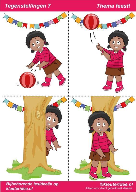 Tegenstellingen deel 7, thema feest voor kleuters, juf Petra van kleuteridee, bij behorende les op de website, preschool opposites, free printable