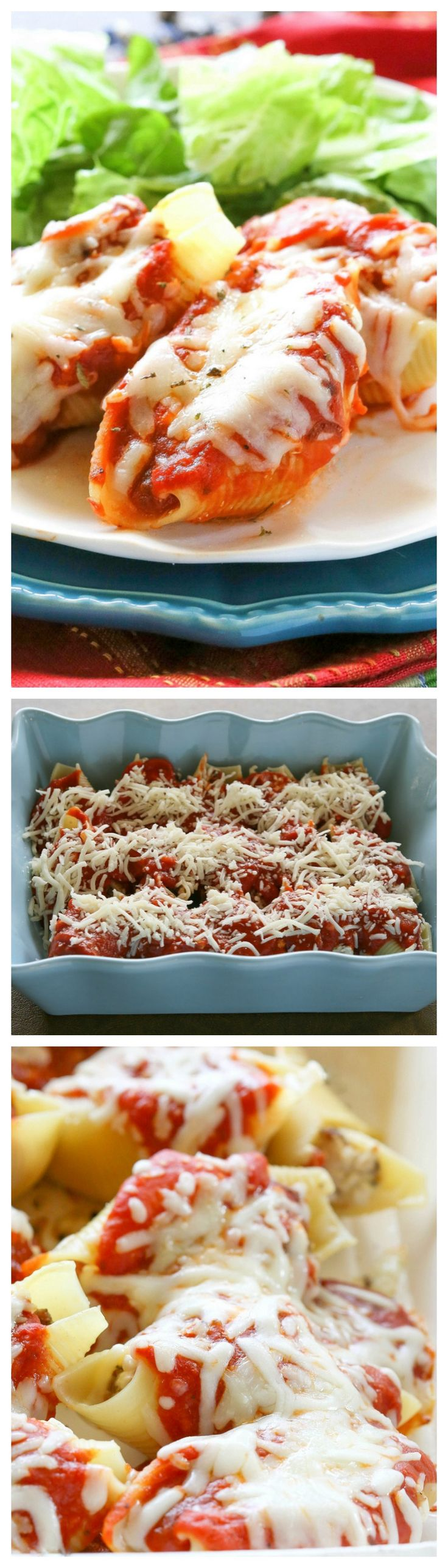 These Pizza Stuffed Shells are jumbo pasta shells stuffed with sausage, pepperoni, and cheese. They can be made ahead and frozen for later. These are a total crowd pleaser. the-girl-who-ate-everything.com