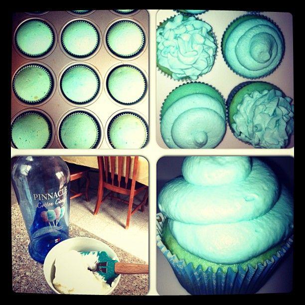 cotton candy cupcakes. pinnacle vodka.