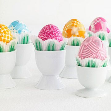 Pretty Taped Eggs ~ The patterns are a cinch to create using Japanese washi tape. The fabriclike tape comes in a variety of colors, sizes, and patterns. This project works best with tape at least 1/2 inch wide. Tear small pieces of your favorite patterns and cover egg, making sure to smooth out air bubbles.
