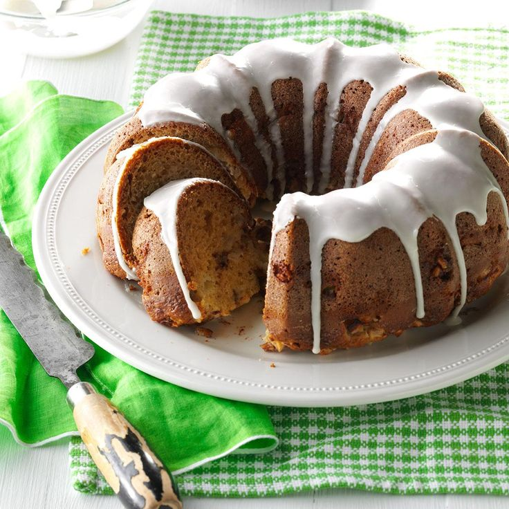 Upside-Down Apple Cake Recipe -Baked in a bundt pan and drizzled with icing, this breakfast cake will be a highlight of your holiday menu. I adapted the…